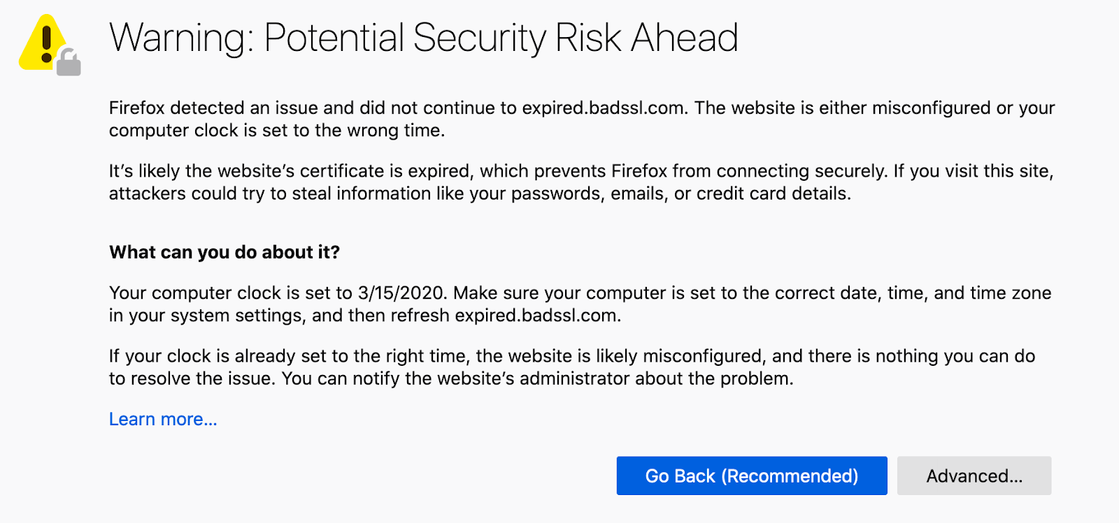 Certification expiration warning in Firefox